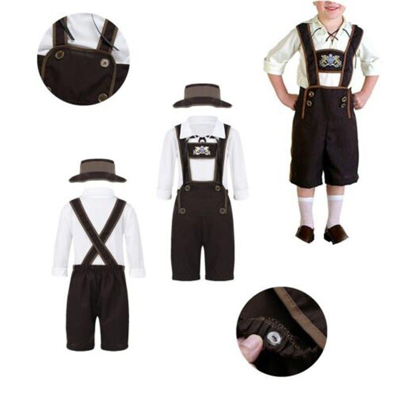 Trajes Cosplay Criança Meninos Conjuntos Bávaro da Cerveja de Oktoberfest Fancy Dress up Festa Halloween Costume S M L XL