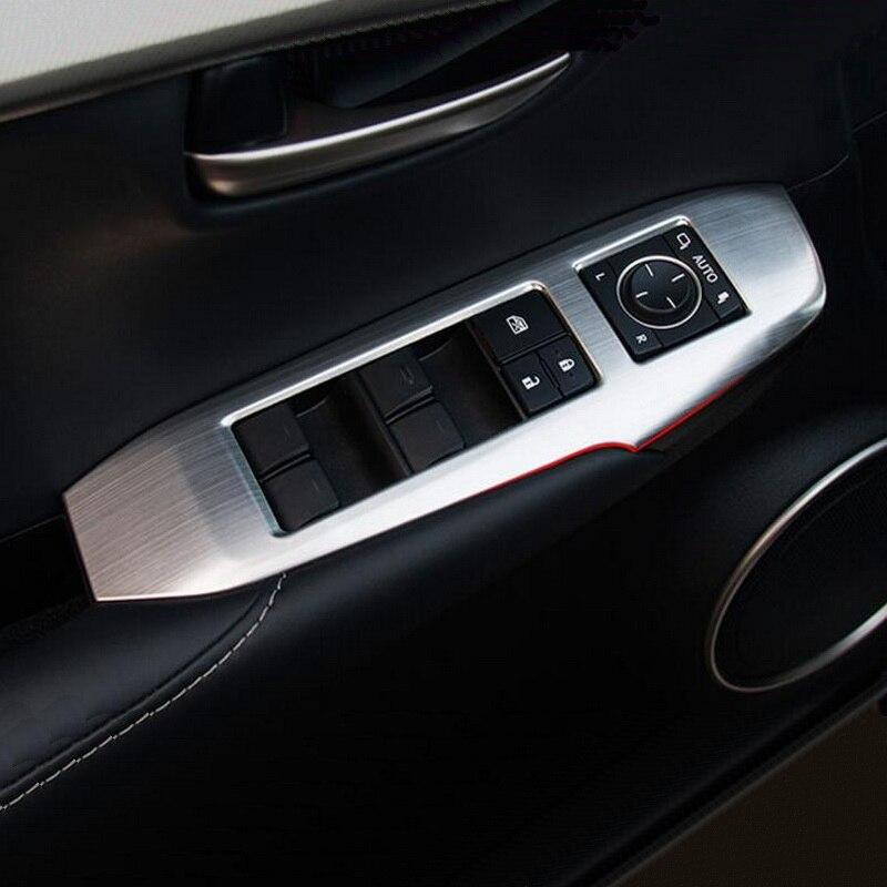 Tonlinker Cover Case Stickers for Lexus NX300h 200t 200 2016 Car Styling 4 PCS carbon fiber door windows lift button sticker enlarge