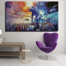 HDARTISAN 영화 포스터 홈 장식 StarWars 공간에서 캔버스 유화 벽 예술 액자 없음 액자