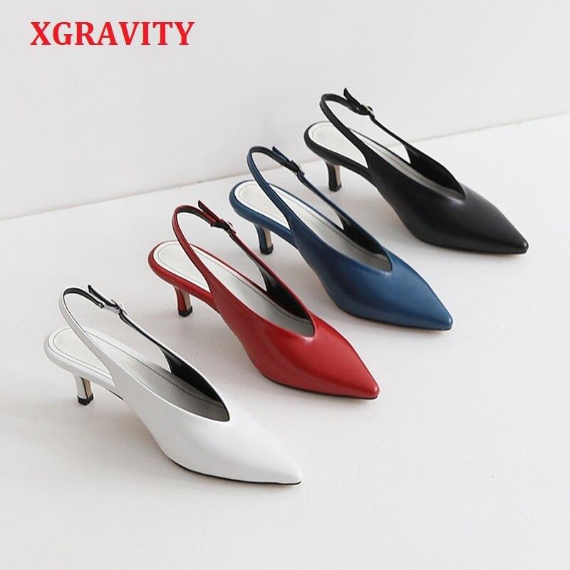 XGRAVITY-حذاء نسائي عتيق بكعب عالٍ على شكل حرف V ، حذاء مثير بكعب عالٍ ، A132