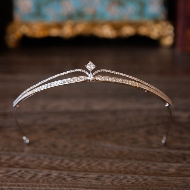 High quality Sparkling Zircon Brides Tiara Crystal Rhinestone Geometric Pageant Crown Bridal Hairbands Evening Hair Accessories