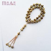 Neue design Gold kristall seil kette charme muslimischen armband frauen 2 schicht Gold religiöse tasbih gebet perlen glas perlen armband