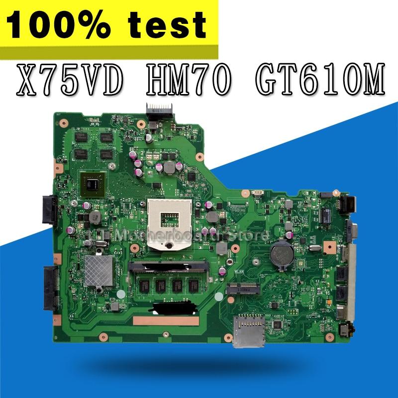 Placa base X75VD REV 2,0 GT610 4g HM70 para For Asus X75VC X75VD placa base de ordenador portátil X75VD placa base X75VD 100% de prueba OK
