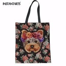 INSTANTARTS Floral Yorkie chien conception femmes fourre-tout sacs à provisions toile livres scolaires voyage sac femme coton femme grands sacs à main