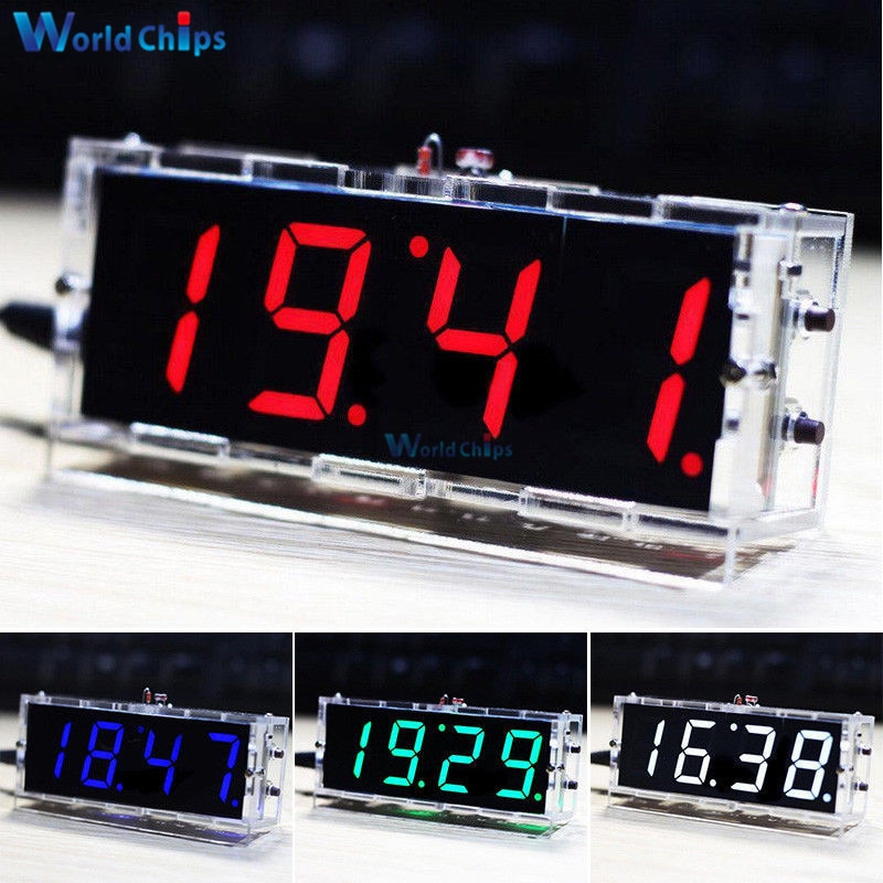 DIY KIT Electronic Clock LED Microcontroller Kit Digital Clock Time Light Control Temperature Thermo