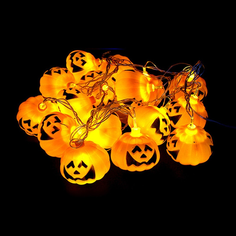 20mm 100pcs lot pumpkin face printed two sides on pearls for halloween holiday decoration for jewelry making 3.5M 16leds Halloween 3D Pumpkin LED String Lights AC220V Orange Pumpkin Light Halloween Holiday Party Decoration Lanterns Light