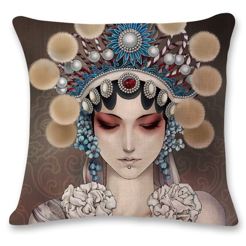 Chinese style Beijing Opera Hua Dan office chair lumbar support pillow photo customized pillow custom printed linen pillow cases