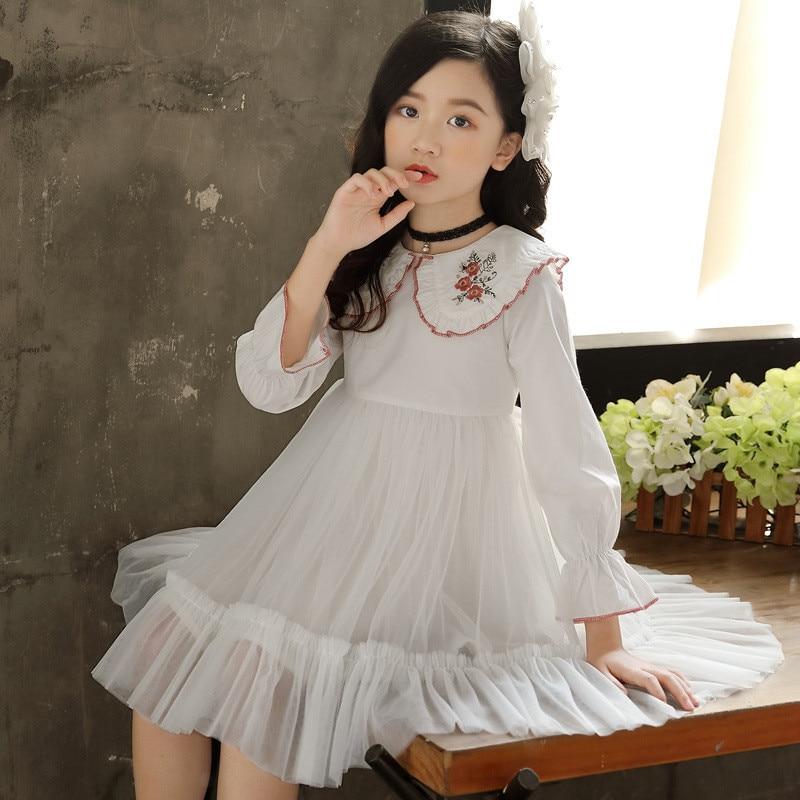 2019 moda niños niñas Vestido de princesa de manga acampanada niños bordado...
