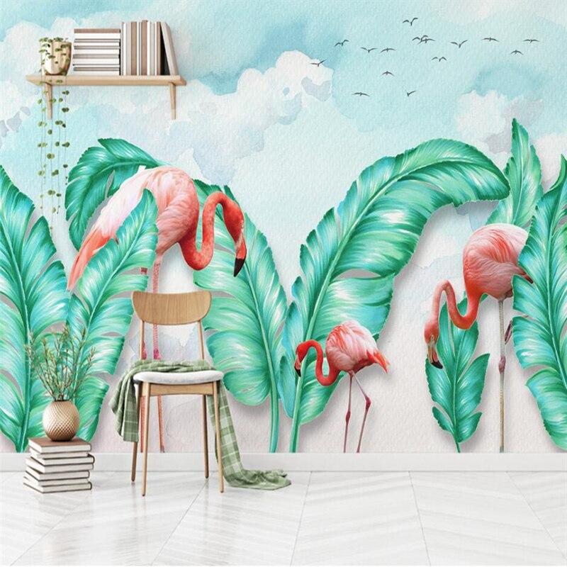 Beibehang Norte Da Europa simples mão-pintado folhas tropicais flamingo TV fundo papel de parede personalizado mural grande papel de parede