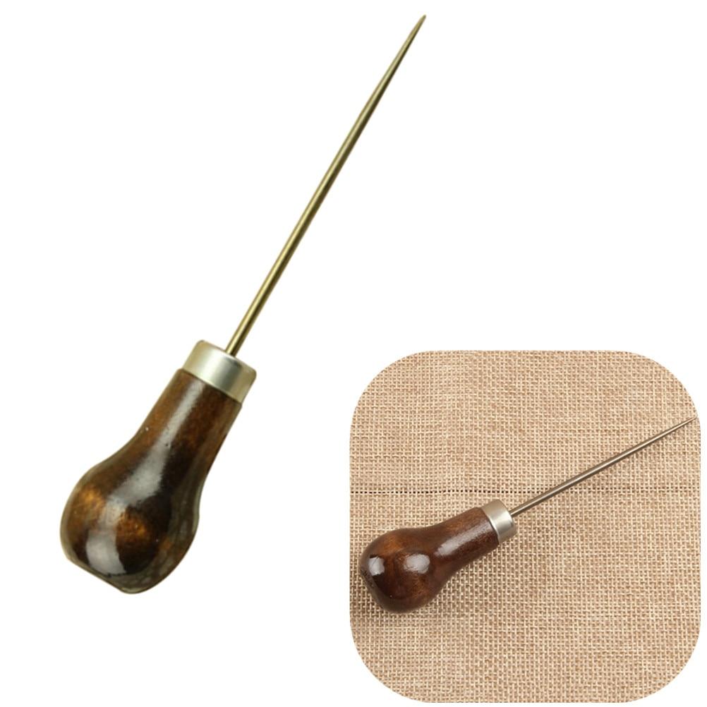 1Pc profesional de cuero herramientas de mango, madera punzón para costura cuero accesorios de costura