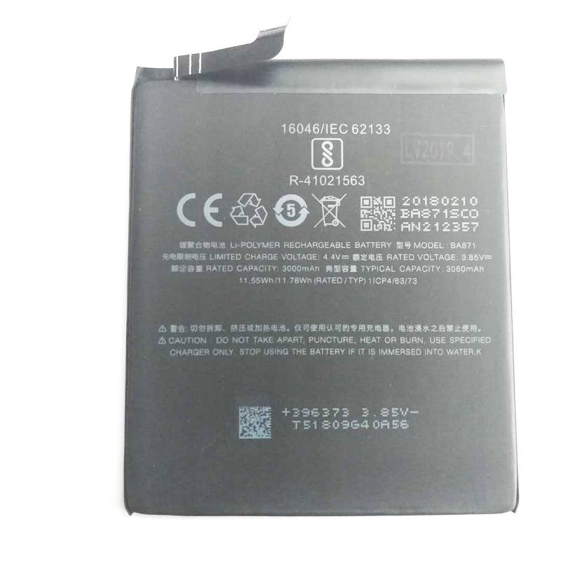 New 3060mAh BA871 Replacement Battery For Meizu Meilan M15 Baterij Bateria Batterie Cell Mobile Phone Batteries enlarge