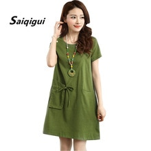 Saiqigui 2019 Summer short Sleeve Pockets women dress casual loose A-Line Solid cotton Linen dress o-neck vestidos de festa