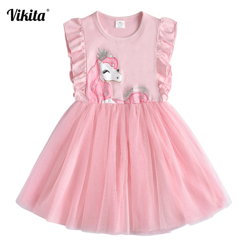 VIKITA Brand Girls Unicorn Summer Dresses Children Sequins Tutu Dress Kids Flare Sleeve Cotton Frocks Baby Girl Princess Clothes