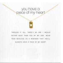 Vous avez un morceau de mon coeur, coeur Tag collier or plongé collier clavicule chaîne déclaration collier femmes bijoux D091