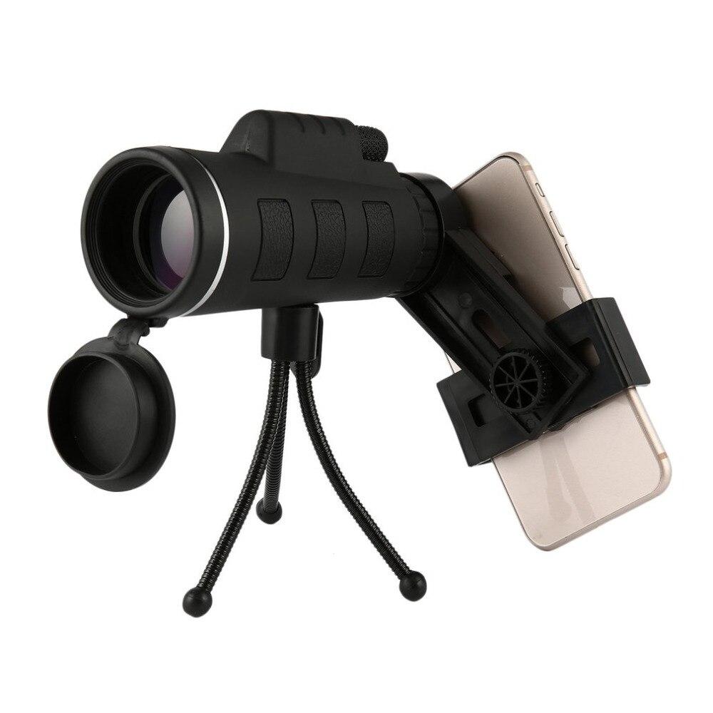 40X60 монокулярный телескоп широкий угол HD ночного видения Призма прицел с компасом телефон клип Штатив Открытый Портативный телескоп
