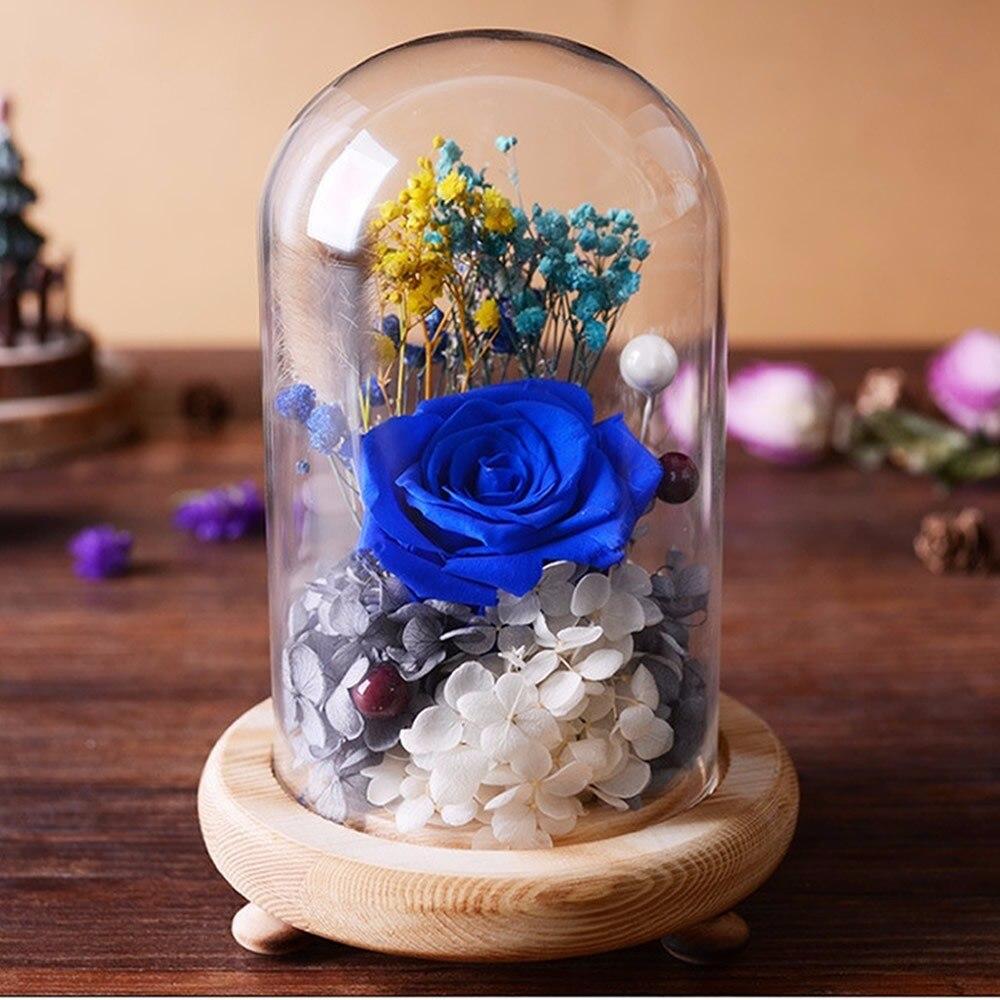 Dia dos namorados capa de vidro fresco preservado rosa flor bela mãe presente de aniversário casamento decoração para casa