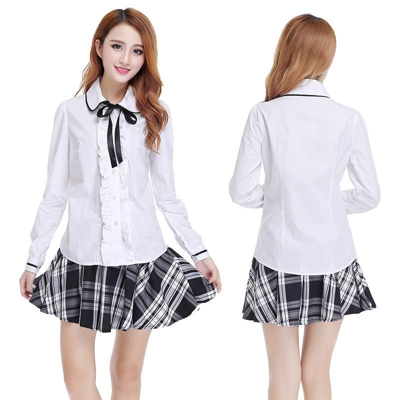 school uniform outfit white short sleeve top and pink skirt Student Short Skirt Long Sleeve Shirt School Uniform Japanese Sailor Uniforms School Girl Skirt 3pcs