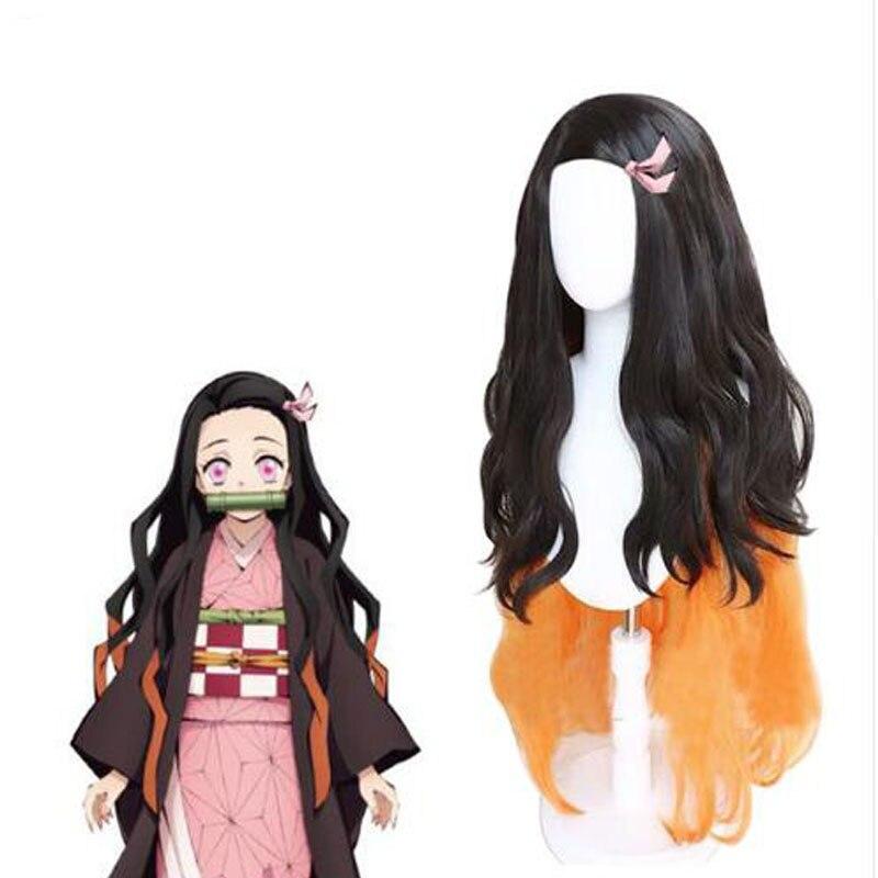 Kamado Nezuko Cosplay peluca hoja de cazadora de Kimetsu no Yaiba Halloween Anime 100 cm de largo pelo rizado negro mezclado naranja