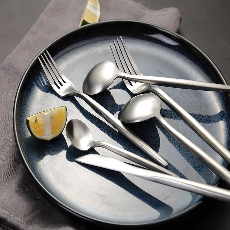 4 unids/set de vajilla de acero inoxidable 304, cuchillo, tenedor, cuchara, cuchillo occidental para comida y tenedor, juego de vajilla Europa occidental regalos