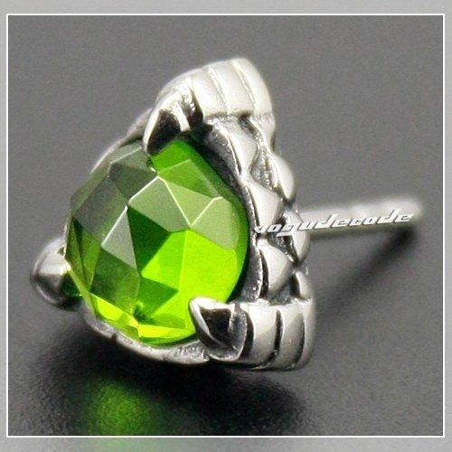 Único 316L Acero inoxidable verde oliva CZ piedra Cool garra Stud pendientes 3L002