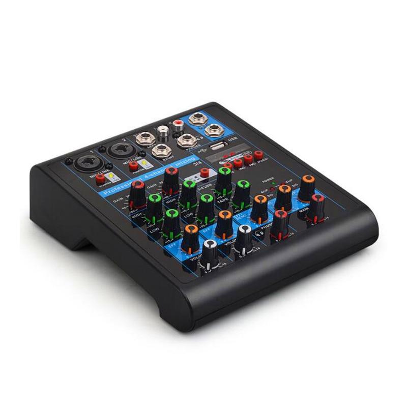 Finlemho DJ Mixer Audio Bluetooth USB Console K4 Professional For Power Amplifier Subwoofer Speaker Line Array 48V Phantom Power