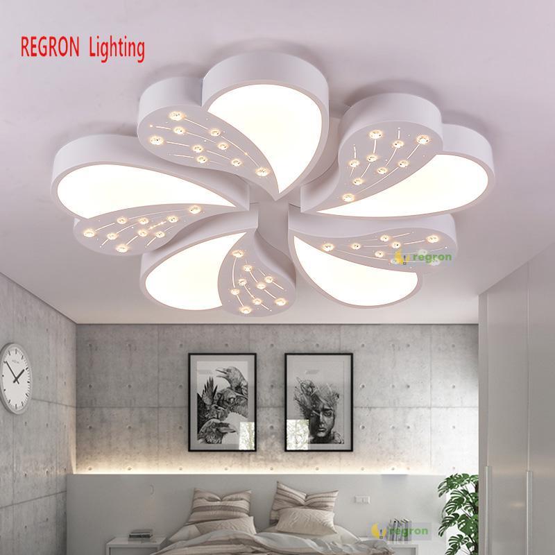 Regron lámpara de techo LED AC90-260V K9 de cuentas de cristal acrílico luces de techo redondo blanco luminaria para vivir Villa estudio de arte