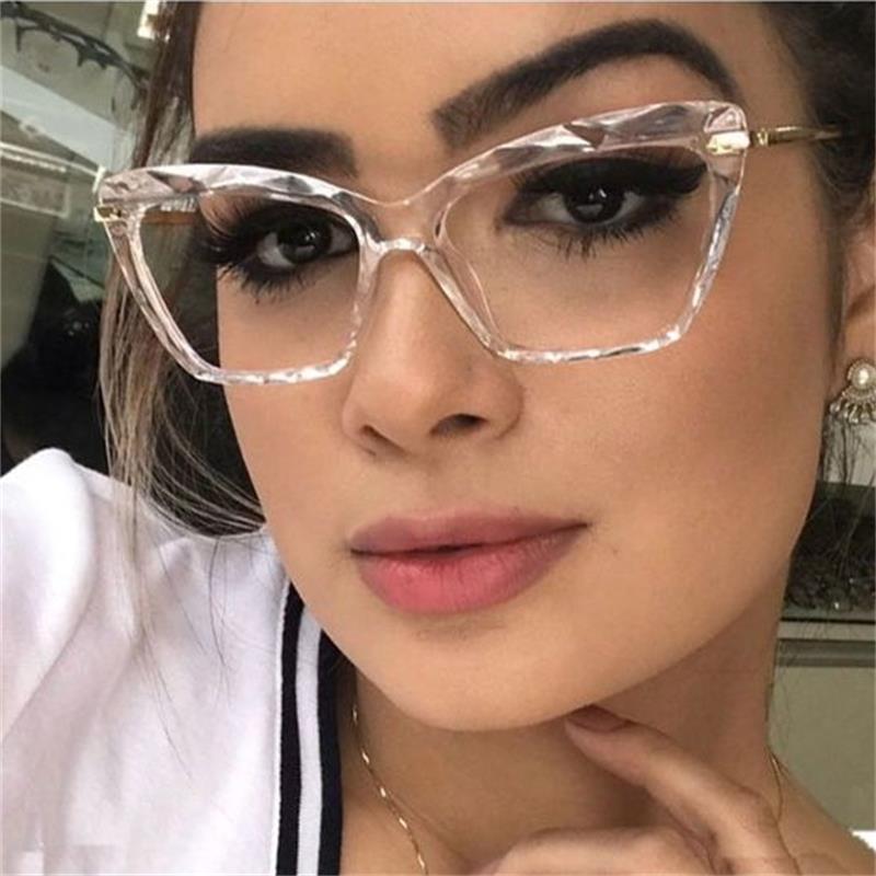 Cat Eye Transparent Womens Glasses Luxury Brand Spectacles Clear Frame Female Eyeglass Frame Fashion Myopia Nerd Glasses Lens