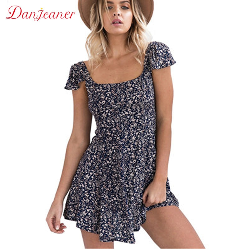 Danjeaner New Women Floral Print Blackless Summer Dress Fashion Hollow Out Short Sleeve Mini Beach Dresses Sexy Slim Vestidos