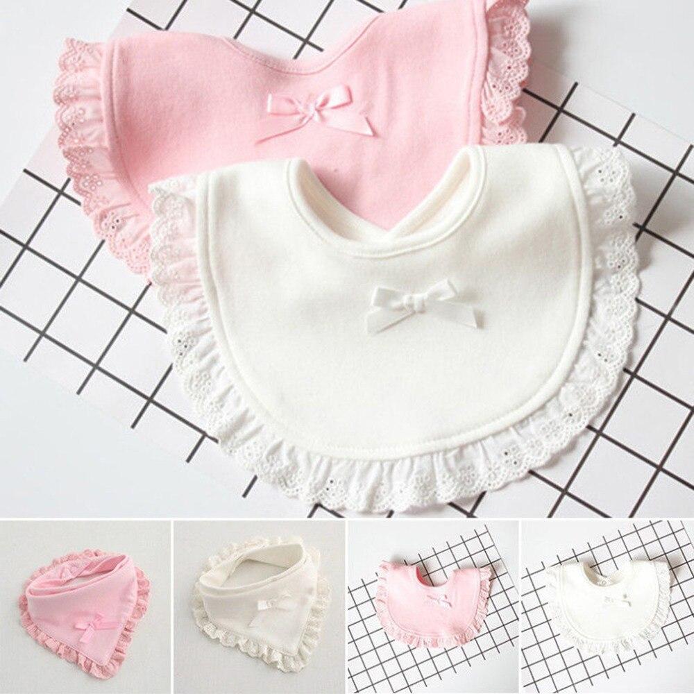 Baberos de algodón con lazo de encaje para recién nacido, ropa bonita...