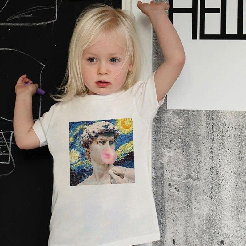 Nueva camiseta de verano para niñas Michelangelo Van Gogh, pintura al óleo, estatua de goma de mascar, Impresión de chicle, camisetas para bebés, divertida camiseta para niños