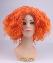 Alice in Wonderland 2 Mad Hatter Cosplay peluca Tarrant Hightopp naranja corto rizado resistente al calor pelucas de pelo sintético + tapa de la peluca