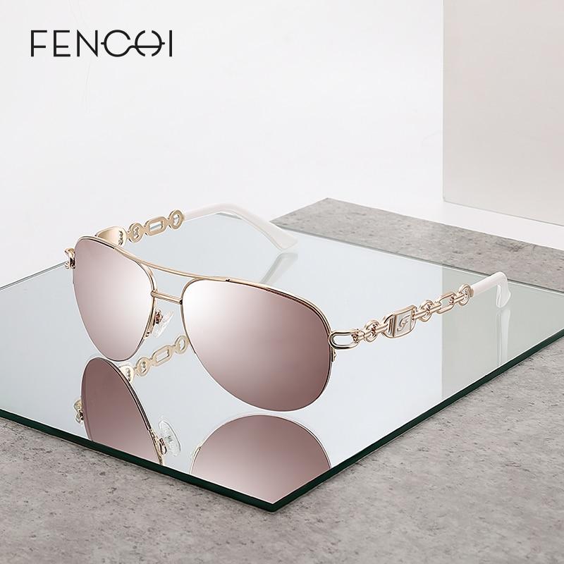 Fenchi óculos de sol mulher uv 400 óculos femininos óculos de sol espelho piloto rosa feminino zonnebril senhoras gafas de sol mujer