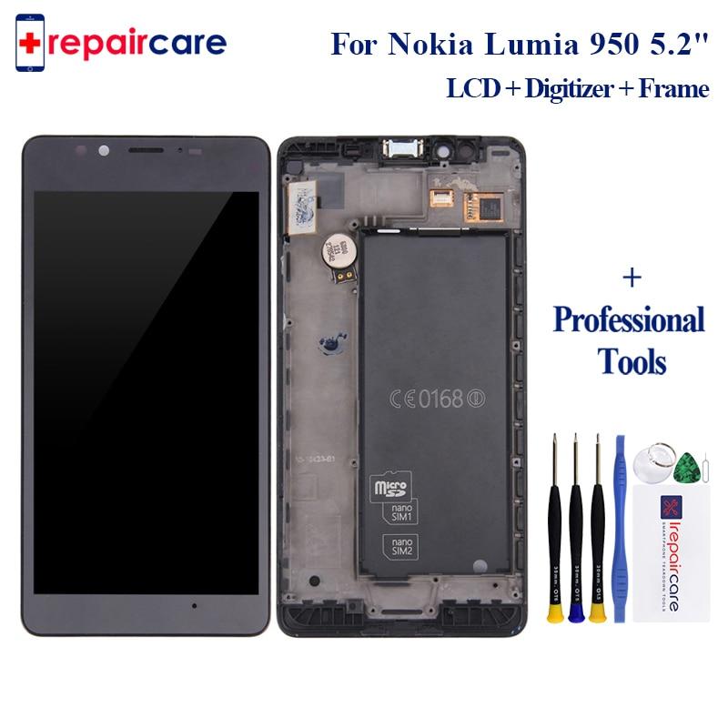 Libre DHL 10 unids/lote Original para Microsoft Nokia Lumia 950 pantalla LCD con pantalla táctil digitalizador con marco