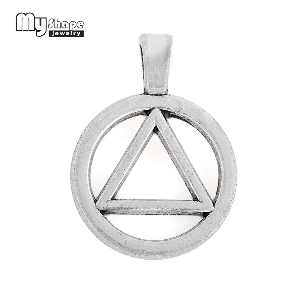 Mein form 10 stücke 19*26mm zink legierung antike silber überzogene AA Alkoholiker Anonym Dreieck Kreis Symbol charme für schmuck machen