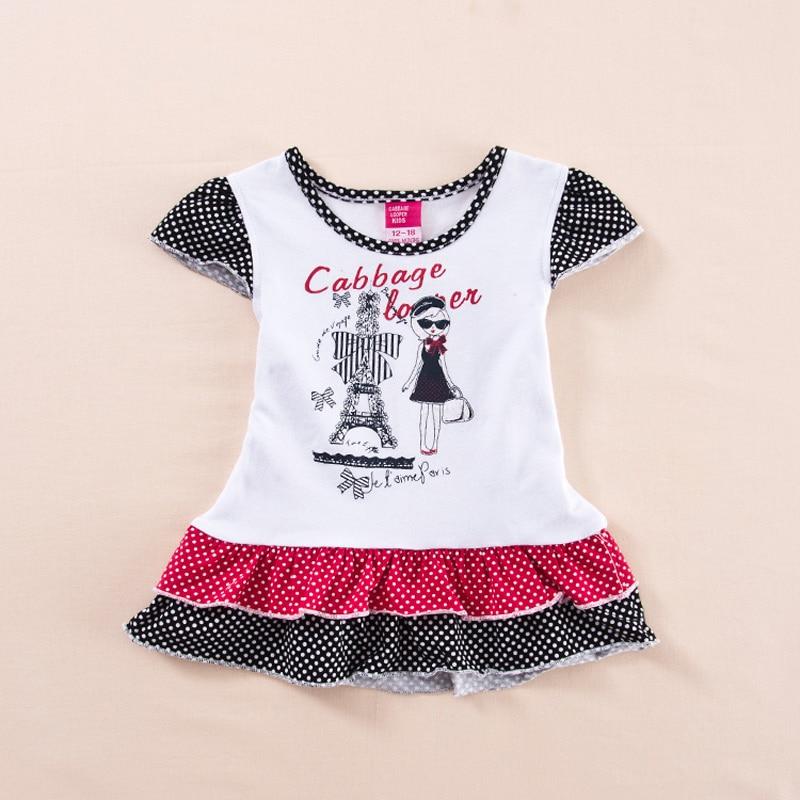 2014 Summer  Children's Clothing Fashion Patchwork Polka Dot  Baby Girls Dress Clothes