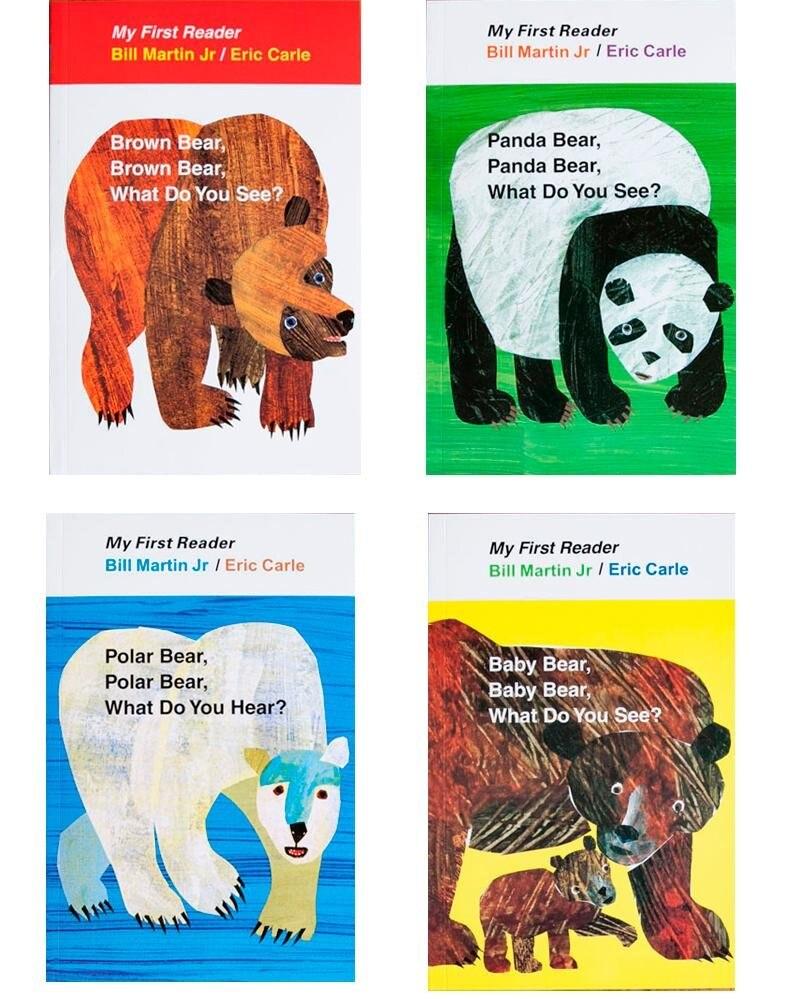 4 PZ libro Inglese per i bambini Il Mio Primo Lettore di Mini Biblioteca Orso Bruno, Orso bruno, Cosa Vedi? educativi popolare libro