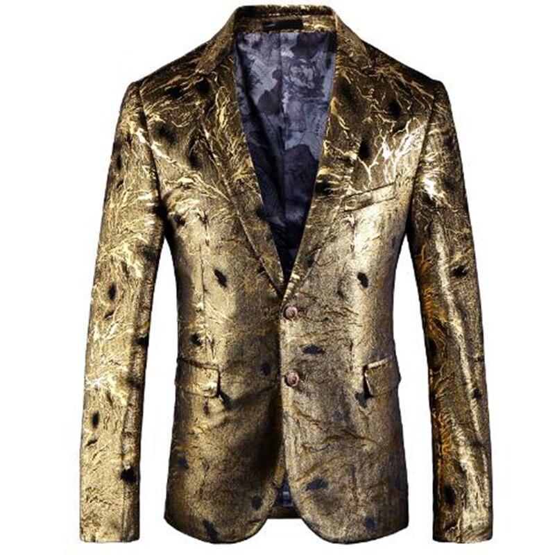 Blazer dourado fino ajuste masculino abiti uomo 2018 casamento baile blazers único botão para homem elegante terno jaqueta 5xl em038