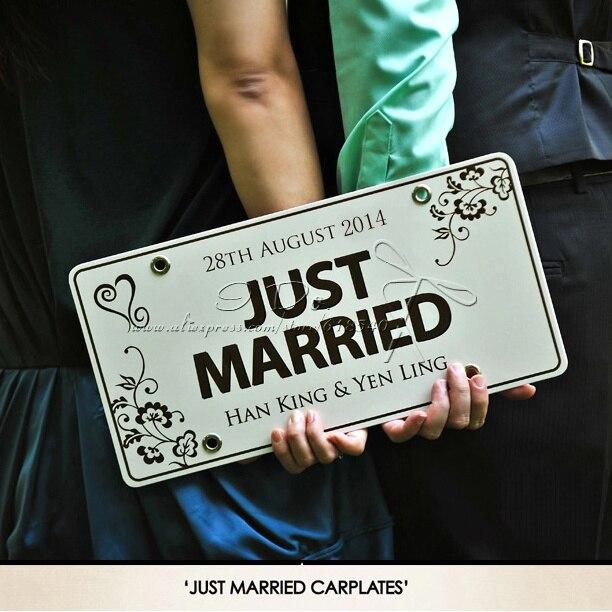 Envío Gratis Placa de coche personalizada boda coche insumos para decoración de boda Boda fondos para eventos y fiestas