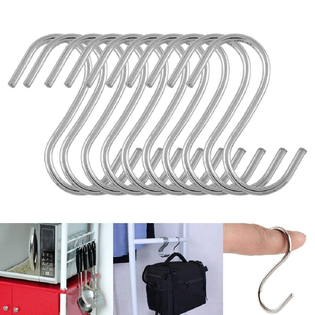 Nuevos ganchos en forma de S de 10 Uds. Para cocina, colgador colgante de sartén, organizador de almacenaje de ropa, básico para el hogar