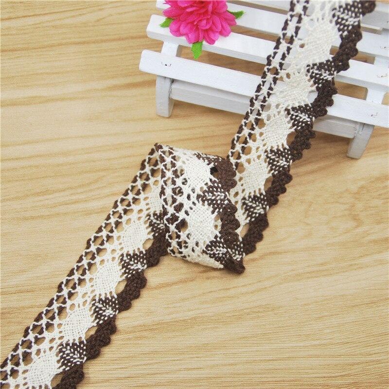 FASMILEY en gros jolie 30mm dentelle de coton ivoire brun mélange motif dentelle ruban bricolage dentelle tissu garnitures 50yards LC211