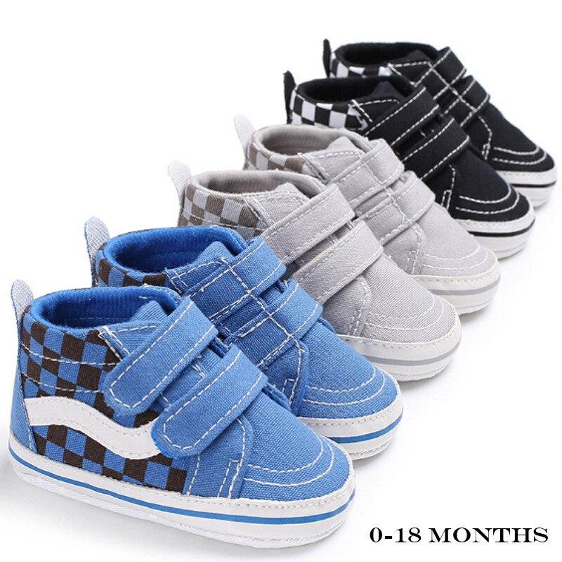 0-18months bonito da criança crianças tênis de lona do bebê da menina do menino macio sola berço sapatos do bebê anti deslizamento sapatos