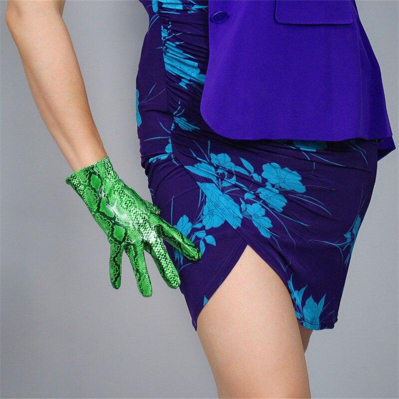Snakeskin Short Gloves 21cm Patent Leather Emulation PU Bright Animal Python Green Snake pattern Female WPU105