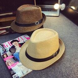 Homem Do Chapéu de Palha do verão Tendência de Couro Fivela Inglaterra Vento Sir Chapéu de Palha Chapéu de Sol Cap Volume de Mulher Formal