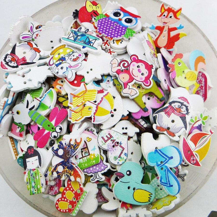 50 Uds. Botones de madera coloridos de 2 agujeros para álbum de recortes manualidades DIY ropa de bebé Niños Accesorios de costura botón Decoración