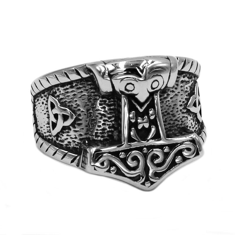 Símbolo Tribal mito Thor martillo anillo de acero inoxidable joyería nórdico vikingo runa Lobo calavera motorista hombres anillo al por mayor SWR0758