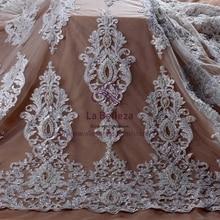 라 belleza 새로운 신부 패션 오프 화이트 순수한 흰색 슈퍼 무거운 진주 구슬 웨딩 드레스 레이스 원단