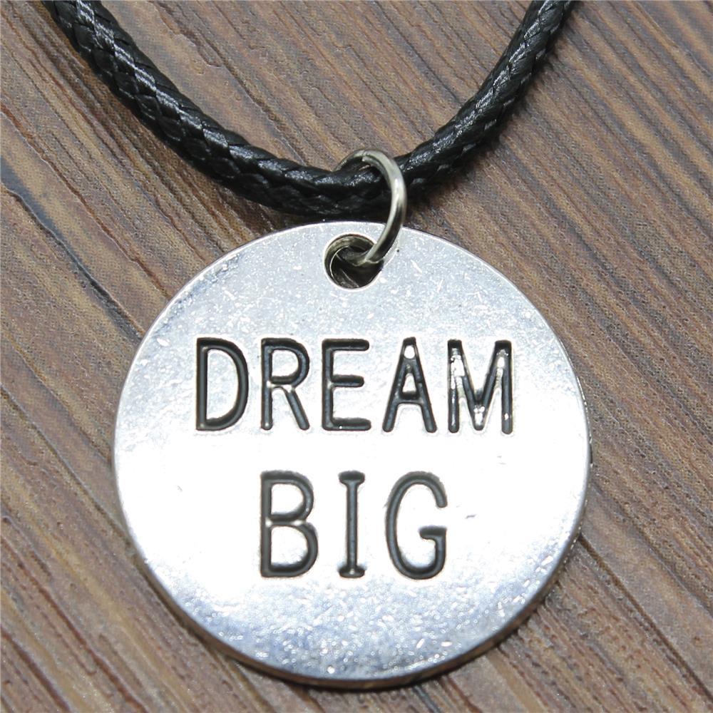 Dropshipping corrente de couro 25x25mm sonho grande placa redonda pingente colar antigo prata cor colar vintage