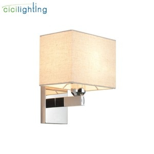 Modern Fabric Shade Wall Light Luminaria, Stainless Steel E27 Wall Sconces with Diffuser Shades, Industrial 1-light Wall Lamp