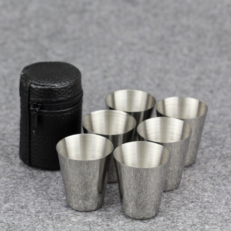 6pcs 30ml Outdoor Practical Stainless Steel Cups Shots Set Mini Glasses Travel Whisky Wine Portable Drinkware Set Coffee Mug Cup
