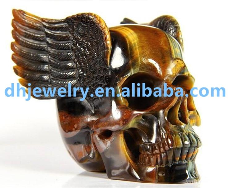 800-900g 100% Natural Ojo de Tigre cristal de cuarzo cráneo rera cristal cráneos